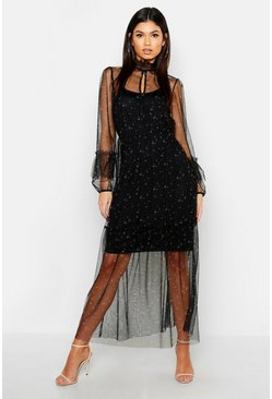 Boho Ditsy Floral Shirring Detail Maxi Dress, Black