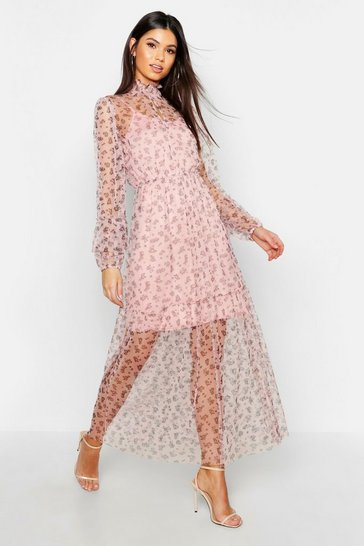 Rose Boho Ditsy Floral Shirring Detail Maxi Dress