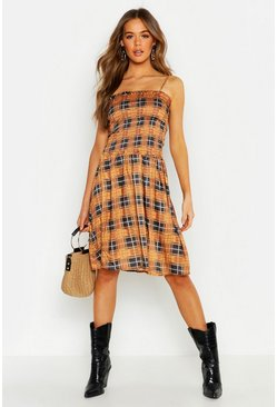 Womens Coral Check Strappy Shirred Detail Dress
