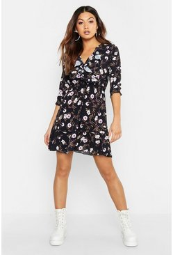 Womens Black Floral Print Ruffle Detail Tea Dress