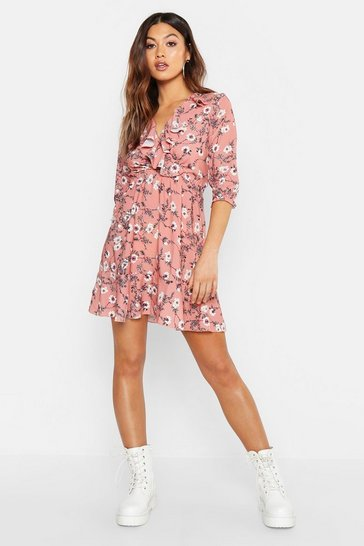 Womens Rose Floral Print Ruffle Detail Tea Dress