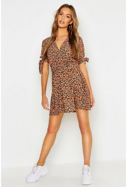 Womens Rust Leopard Print Tie Sleeve Tea Dress