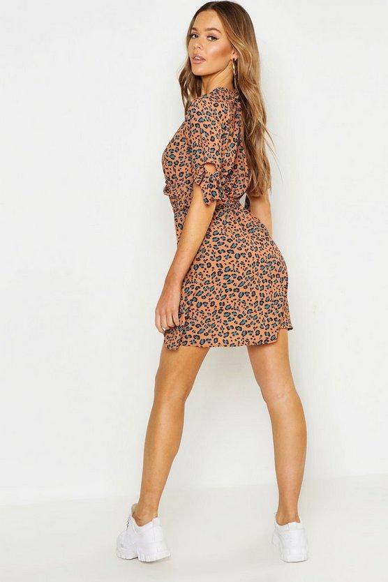 Leopard Print Tie Sleeve Tea Dress