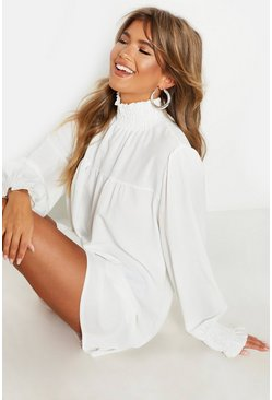 White Shirred Neck & Cuff Smock Dress