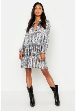 Womens Blue Snake Print Oversized Smock Dress