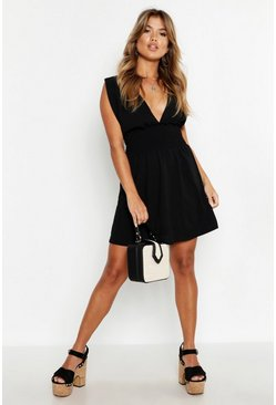 Womens Black Plunge Front Shirred Waist Pinafore Dress