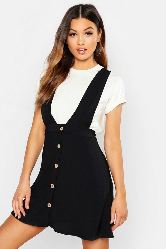 Womens Black Plunge Front Button Pinafore Dress