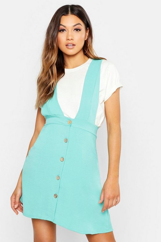 Turquoise Plunge Front Button Pinafore Dress