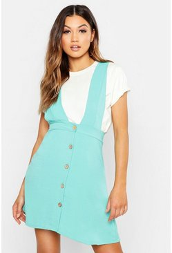 Plunge Front Button Pinafore Dress, Turquoise, Donna
