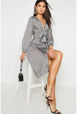 Womens Black Geo Print Oval Buckle Shirt Dress