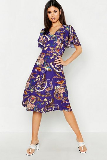 Womens Purple Satin Angel Sleeve Midi Dress