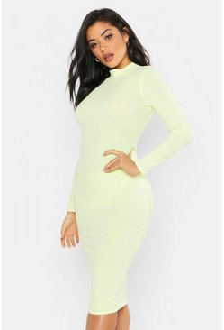 Womens Lime Washed Pastel Ribbed Midi Bodycon Dress