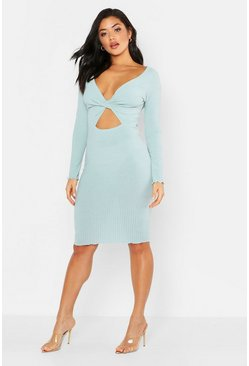 Tonal Ribbed Wrap Detail Cut Out Midi Dress, Mint