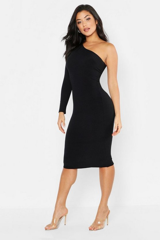 Black Tonal Ribbed One Shoulder Midi Dress