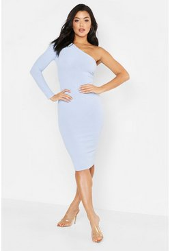 Womens Cornflower blue Tonal Ribbed One Shoulder Midi Dress