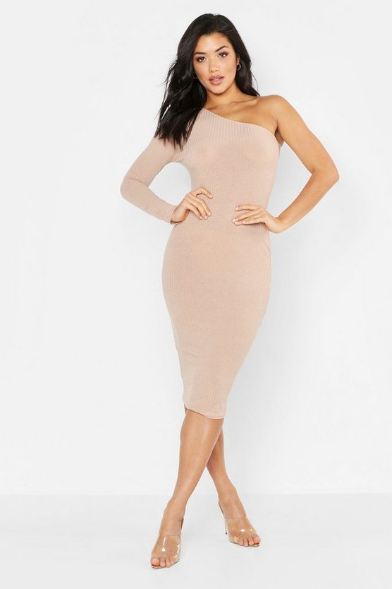 Stone Tonal Ribbed One Shoulder Midi Dress