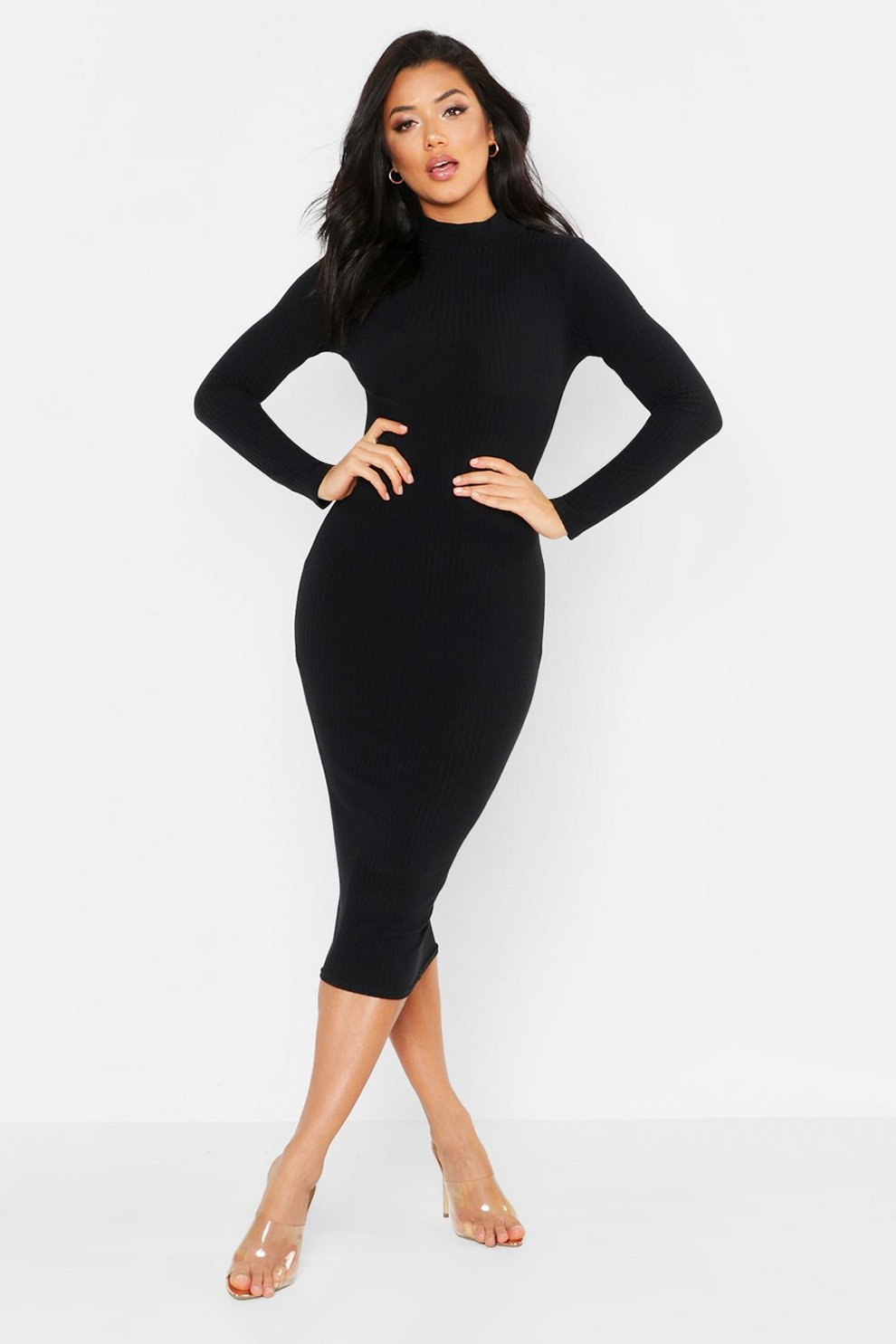 1c5d50807c6c Womens Black Tonal Ribbed High Neck Midi Dress. Hover to zoom