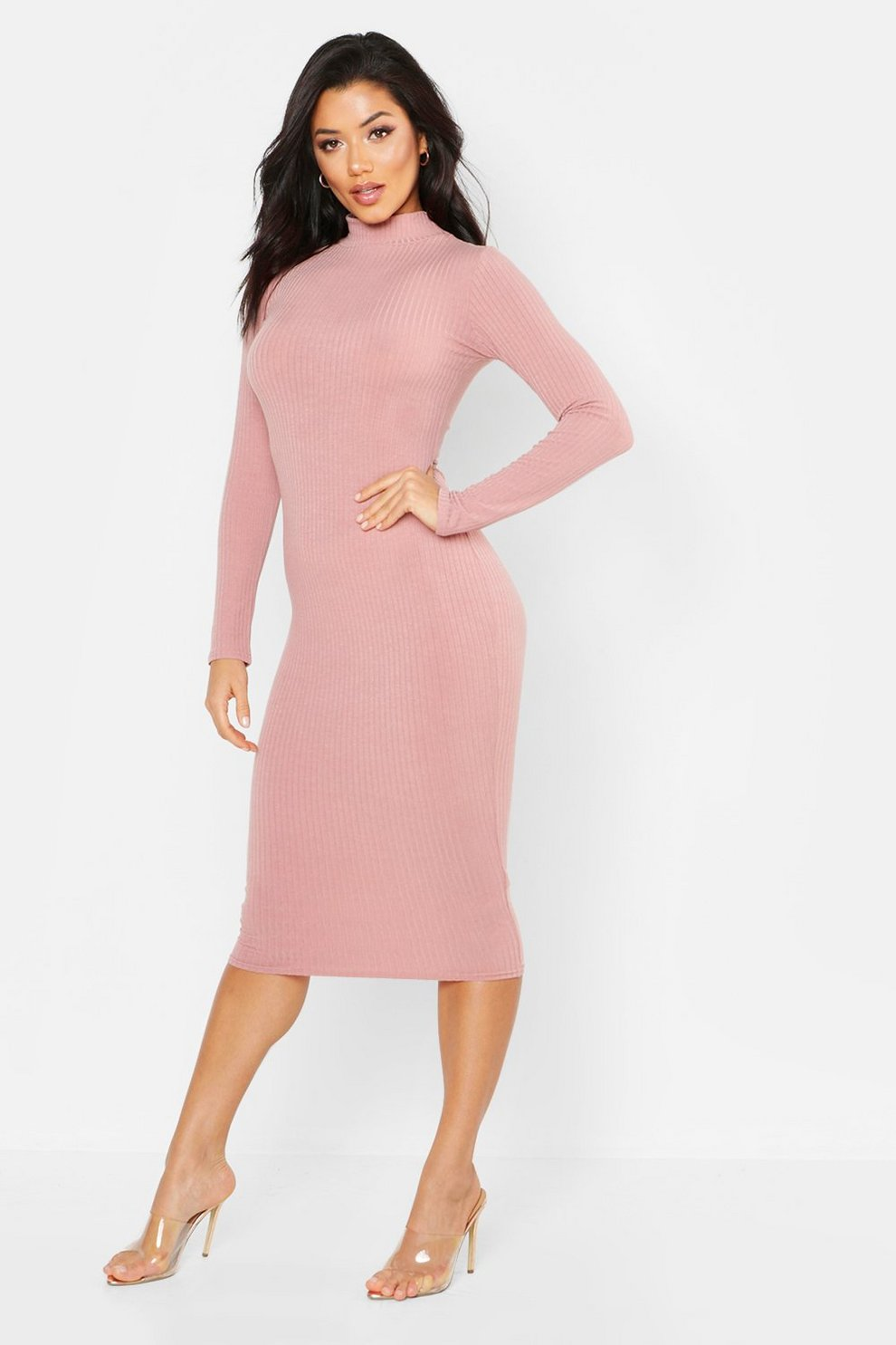 4f5e71803570 Tonal Ribbed High Neck Midi Dress | Boohoo