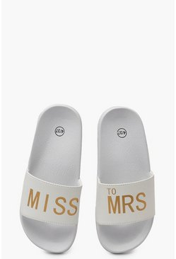 Womens White Miss To Mrs Slogan Sliders