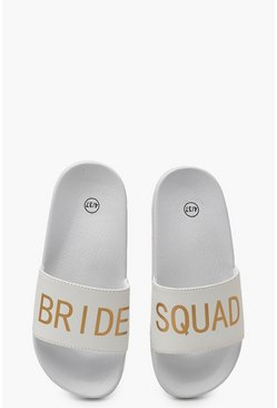 Bride Squad Slogan Sliders, White