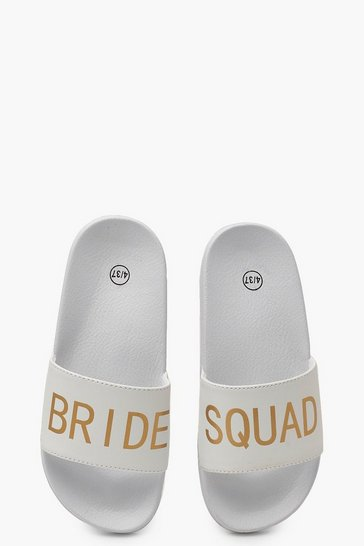 Womens White Bride Squad Slogan Sliders