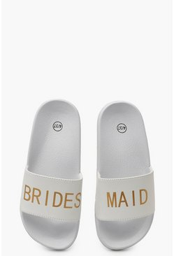 "Sandalias con eslogan ""Bridesmaid"", Blanco"