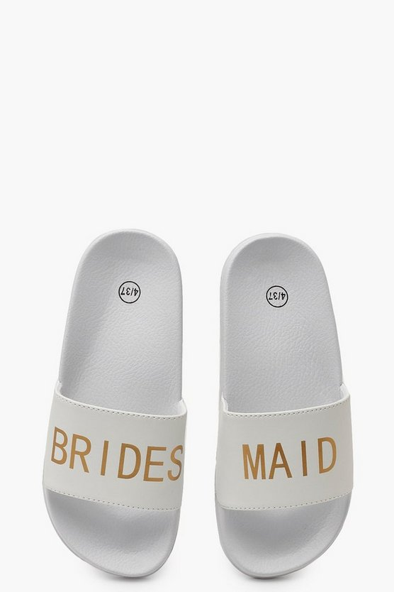 Womens White Bridesmaid Slogan Sliders