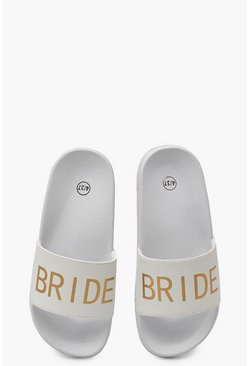 "White ""Bride"" Badtofflor med slogan"