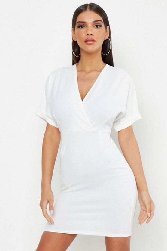 Womens Ivory Wrap Over Belted Dress