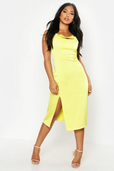 Womens Chartreuse Satin Cut Front Slip Dress