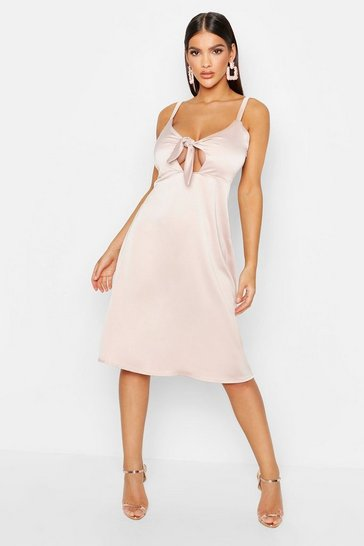 Womens Nude Satin Tie Front Cami Midi Dress