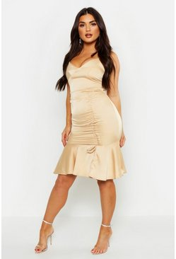 Womens Gold Ruched Side Satin Midi Dress