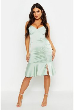 Dam Sage Ruched Side Satin Midi Dress