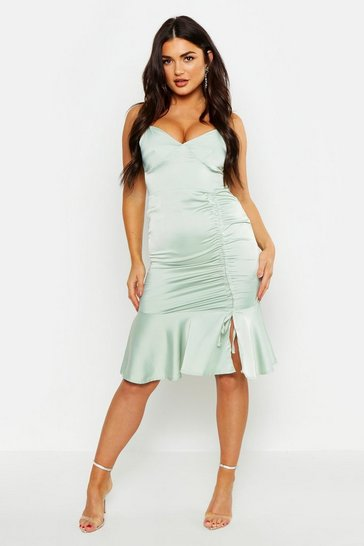 Womens Sage Ruched Side Satin Midi Dress