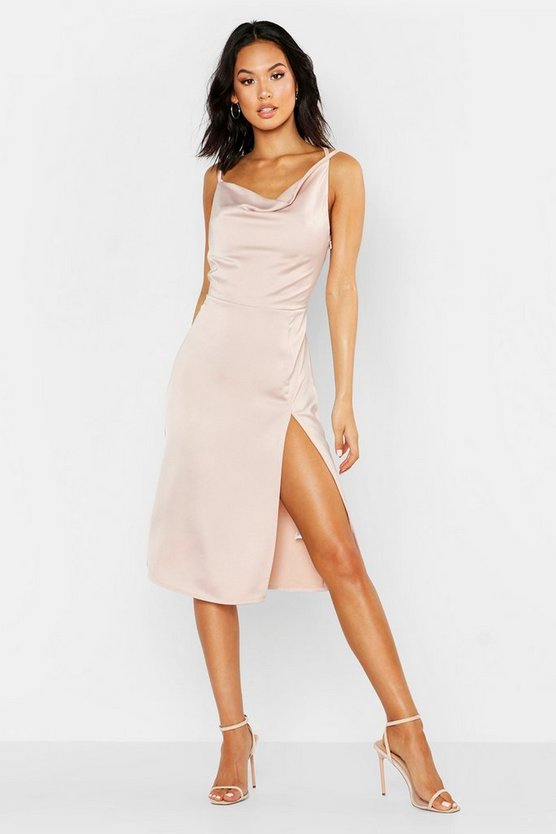 Blush Satin Cowl Neck Midi Dress