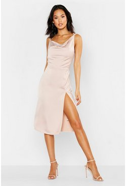 Womens Blush Satin Cowl Neck Midi Dress