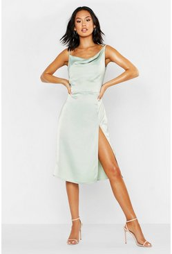Satin Cowl Neck Midi Dress, Sage, Donna