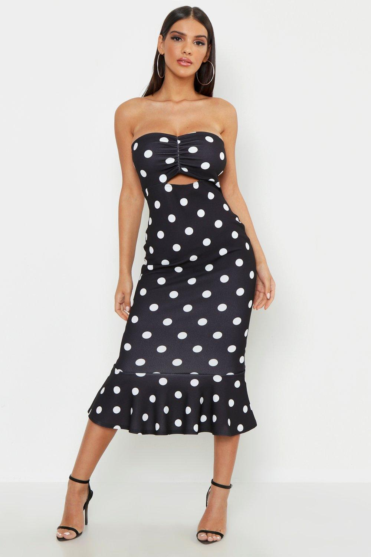 Bandeau Polka Dot Midi Dress