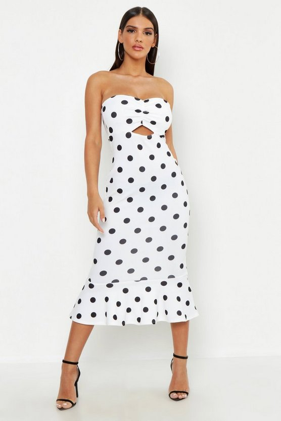 Womens Ivory Bandeau Polka Dot Midi Dress