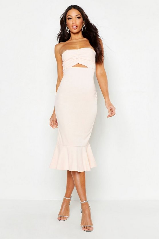 Womens Blush Bandeau Fishtail Midi Dress