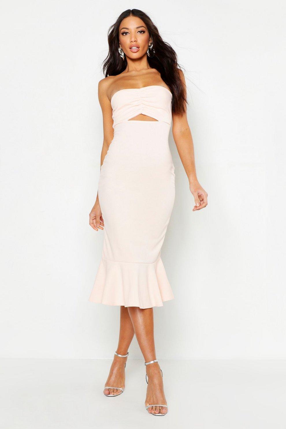 91a728b02e36e Bandeau Fishtail Midi Dress | Boohoo