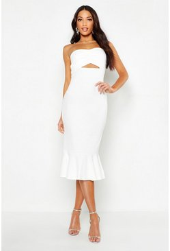 Womens Ivory Bandeau Fishtail Midi Dress