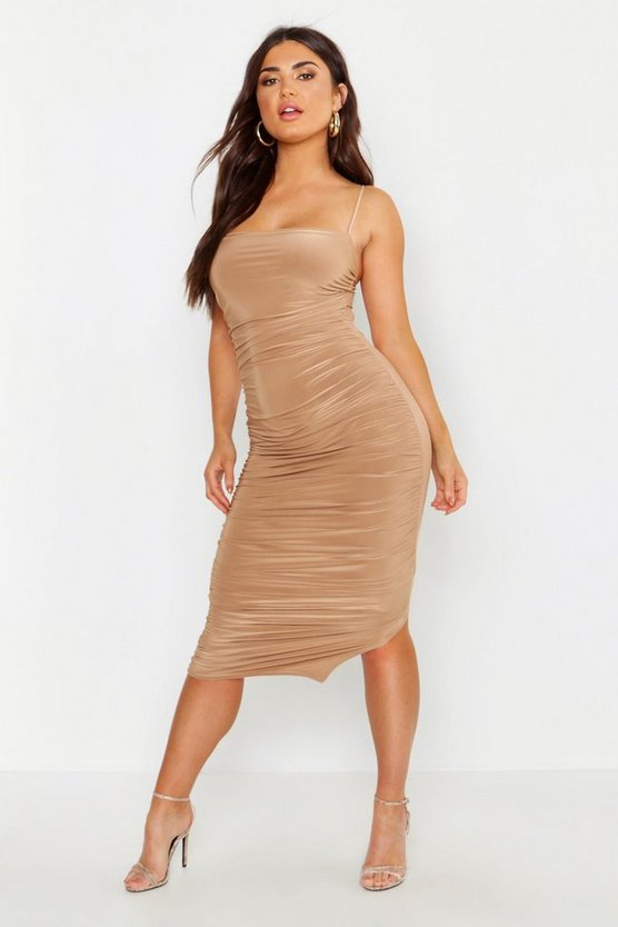 Womens Camel Ruched Midi Bodycon Dress