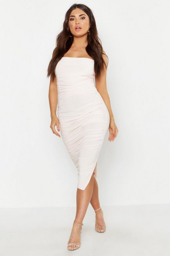 Womens Nude Ruched Midi Bodycon Dress