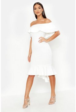 Womens White Ruffle Fishtail Midi Dress