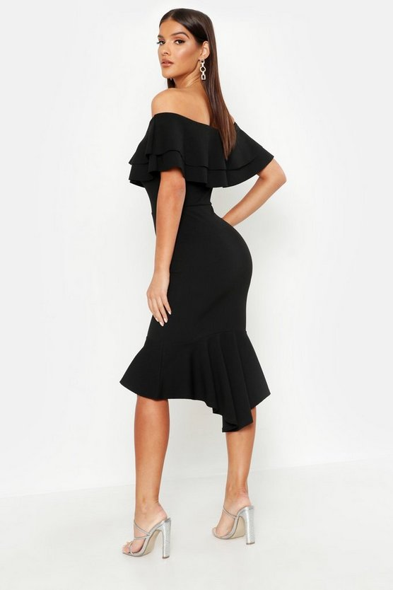 Ruffle Fishtail Midi Dress