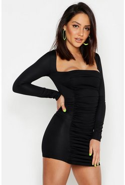 Womens Black Ruched Square Neck Bodycon Mini Dress