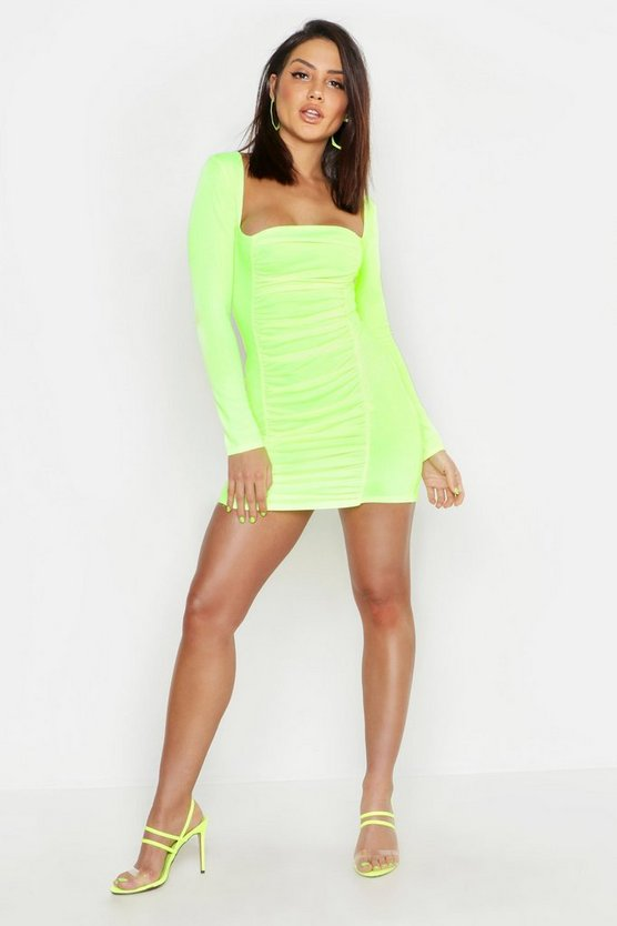 Womens Neon-yellow Ruched Square Neck Bodycon Mini Dress
