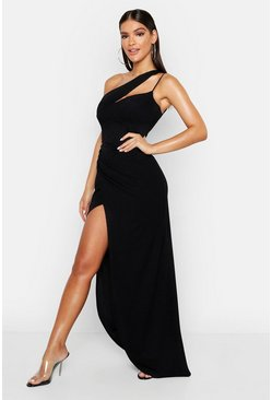 One-Shoulder-Maxikleid, Schwarz