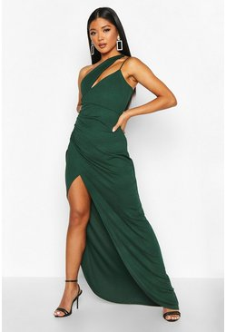 Womens Bottle green One Shoulder Maxi Dress